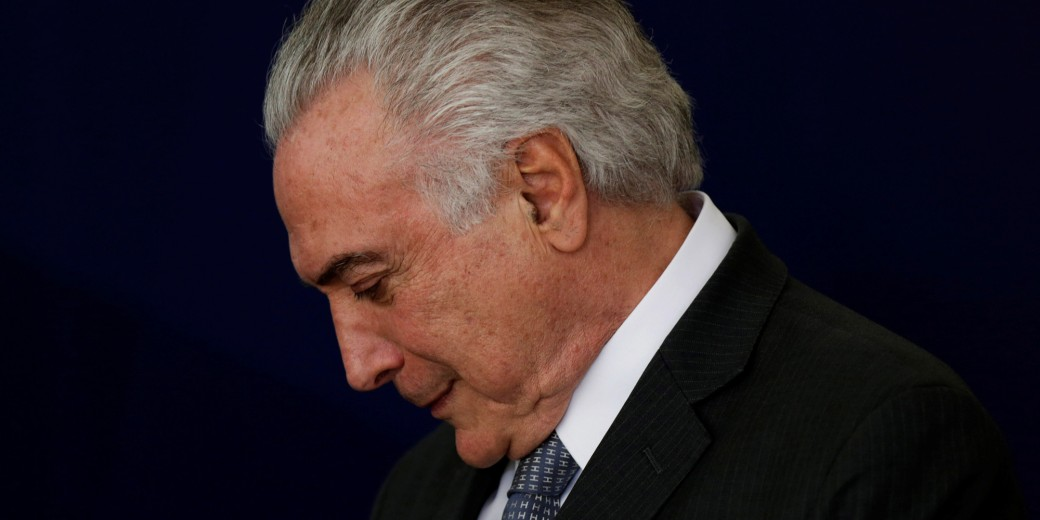 "Brazil's President Michel Temer reacts during launch ceremony of the ""New School"" (Novo Ensino Medio) at the Presidential Palace in Brasilia, Brazil"